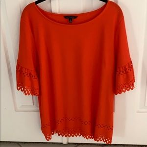 Detailed orange crepe top
